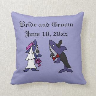 Funny Shark Bride and Groom Wedding Art Throw Pillow