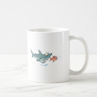 funny shark chasing fish basic white mug