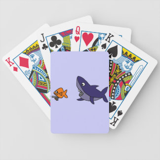 Funny Shark Chasing Goldfish with Gun Bicycle Playing Cards