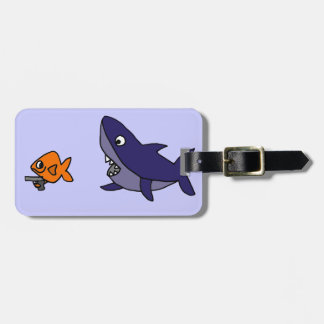 Funny Shark Chasing Goldfish with Gun Luggage Tag