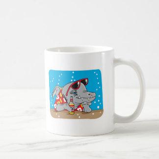 funny shark drinking beer basic white mug