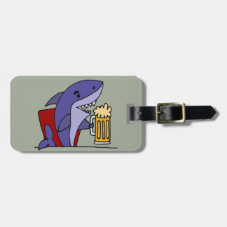 Funny Shark Drinking Beer Luggage Tag