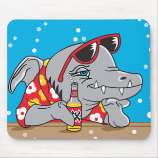 funny shark drinking beer mouse pad