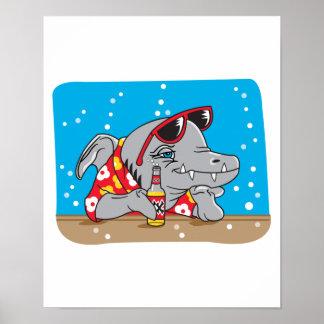 funny shark drinking beer poster