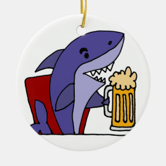 Funny Shark Drinking Beer Round Ceramic Decoration
