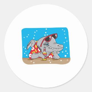 funny shark drinking beer round sticker