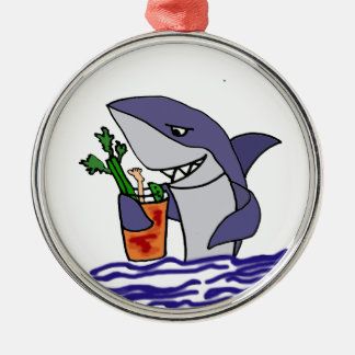 Funny Shark Drinking Bloody Mary Christmas Ornament