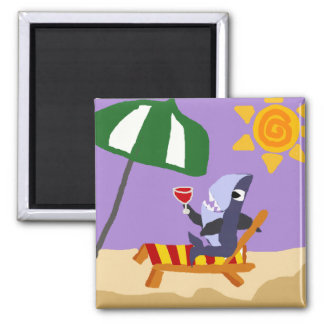 Funny Shark Drinking Red Wine at the Beach Refrigerator Magnets