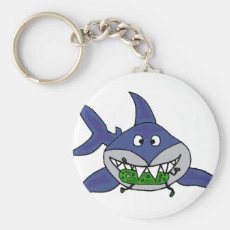 Funny Shark Eating Pickle Man Cartoon Key Ring