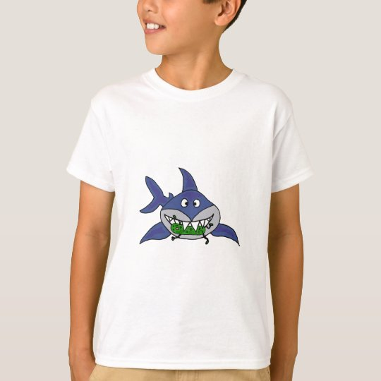 Funny Shark Eating Pickle Man Cartoon T-Shirt