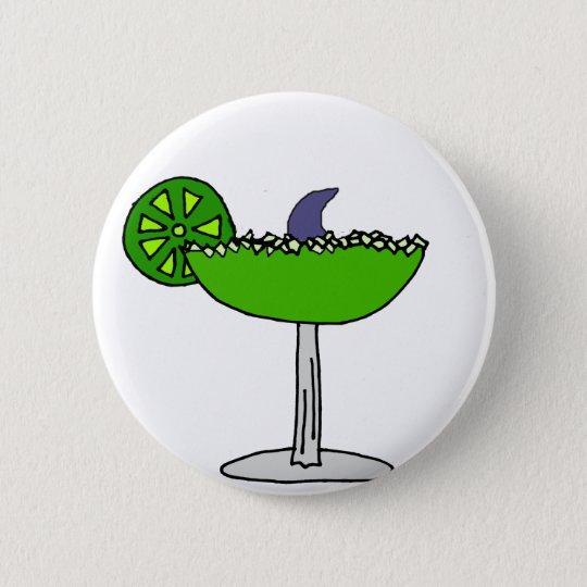 Funny Shark Fin in Margarita Glass 6 Cm Round Badge
