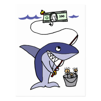 Funny Shark Fishing for People Postcard