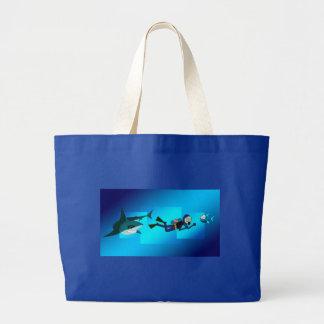 FUNNY SHARK FOLLOWS A SCUBA DIVER, BLUE SCUBA BAG