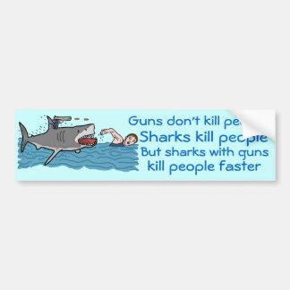 Funny Shark Gun Control Bumper Sticker