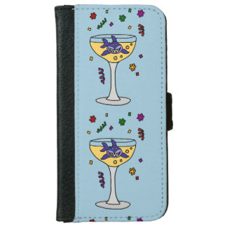Funny Shark in Champagne Glass iPhone 6 Wallet Case