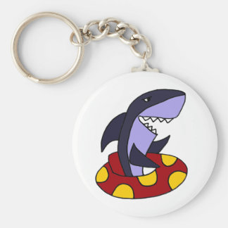 Funny Shark in Red and Yellow Inner Tube Basic Round Button Key Ring