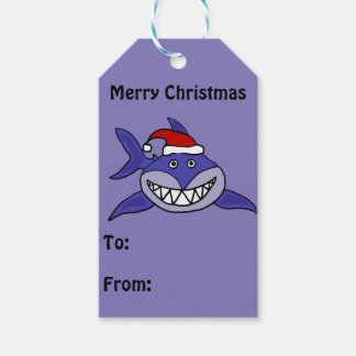Funny Shark in Santa Hat Christmas Gift Tag