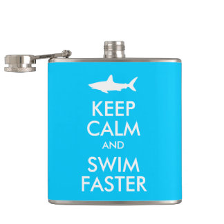 Funny Shark Keep Calm and Swim Faster Parody Hip Flask