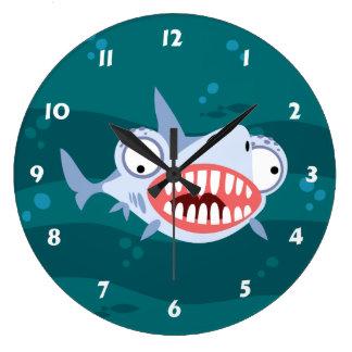 Funny Shark Large Clock
