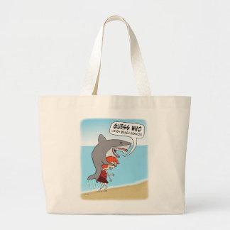 Funny Shark Loves Beach Season Jumbo Tote Bag