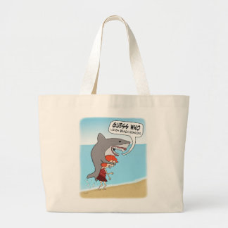 Funny Shark Loves Beach Season Large Tote Bag