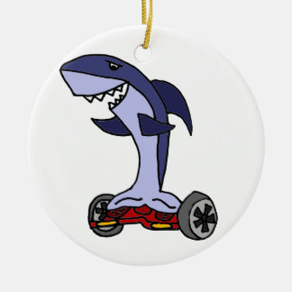 Funny Shark on Red Hoverboard Christmas Ornament