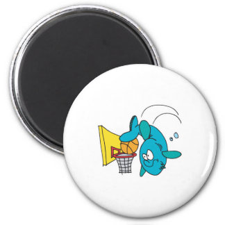 funny shark playing basketball 6 cm round magnet