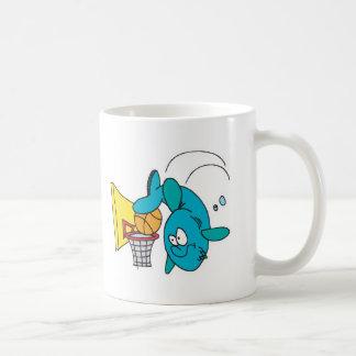 funny shark playing basketball basic white mug