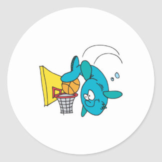 funny shark playing basketball round sticker