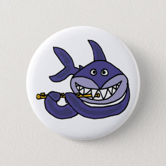 Funny Shark Playing Flute Cartoon 6 Cm Round Badge