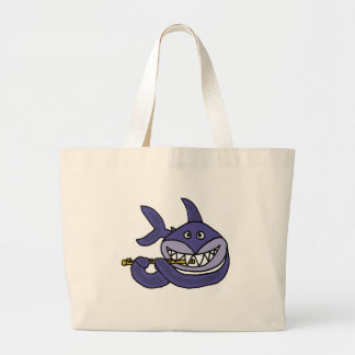 Funny Shark Playing Flute Cartoon Large Tote Bag