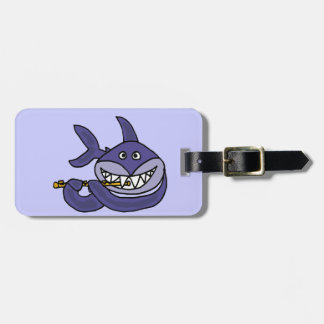Funny Shark Playing Flute Cartoon Luggage Tag