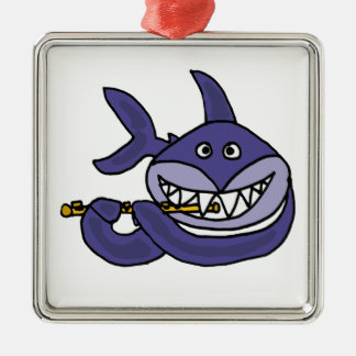 Funny Shark Playing Flute Cartoon Silver-Colored Square Decoration