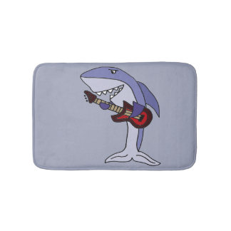 Funny Shark Playing Red Guitar Bath Mat
