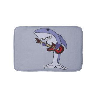 Funny Shark Playing Red Guitar Bath Mats