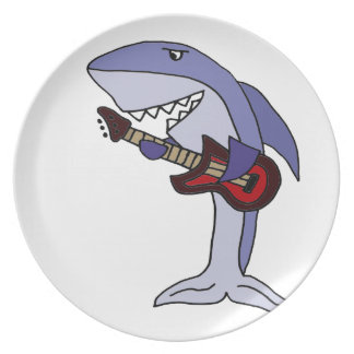 Funny Shark Playing Red Guitar Plate