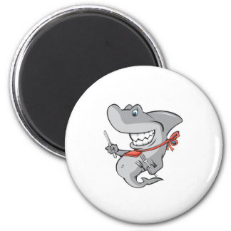 funny shark ready to eat 6 cm round magnet