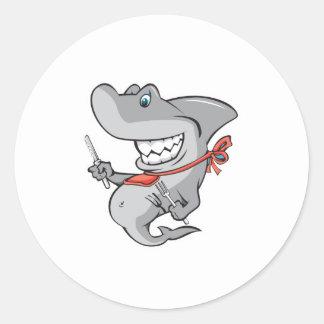 funny shark ready to eat round sticker