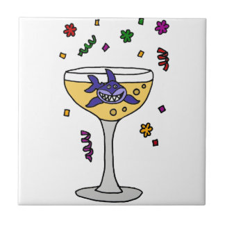 Funny Shark Swimming in Champagne Glass Tile