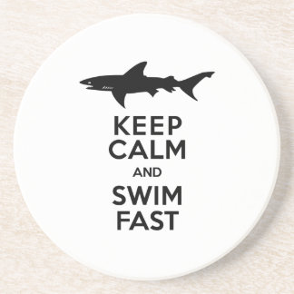 Funny Shark Warning - Keep Calm and Swim Fast Coaster