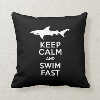 Funny Shark Warning - Keep Calm and Swim Fast Cushion