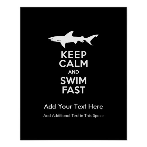 Funny Shark Warning - Keep Calm and Swim