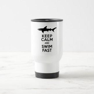 Funny Shark Warning - Keep Calm and Swim Fast Stainless Steel Travel Mug
