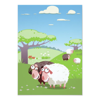 Funny Sheep 13 Cm X 18 Cm Invitation Card