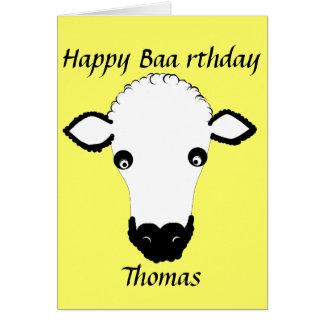 Funny Sheep Birthday, baa rthday, add name front Greeting Card