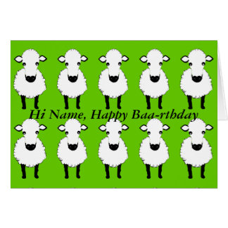 Funny Sheep Birthday, baa rthday, add name front Greeting Card