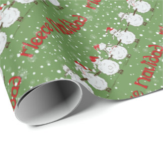 Funny Sheep Fleece Navidad Diagonal Gift Wrap