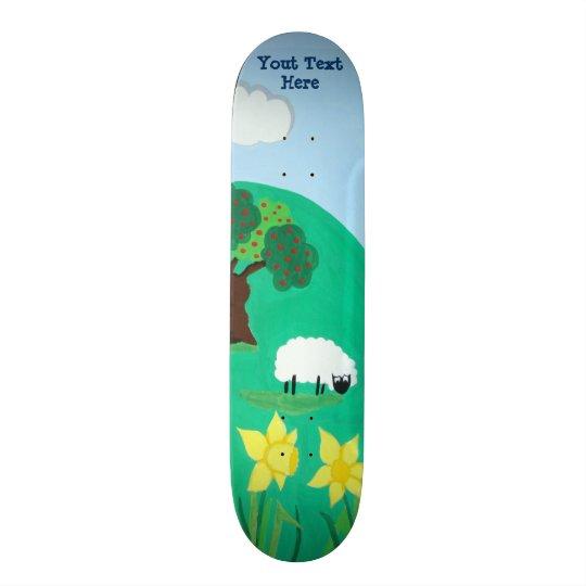 funny sheep grazing blue sky scenic illustration skate