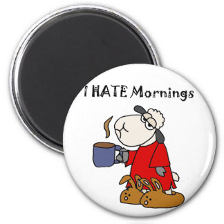 Funny Sheep Hates Mornings Cartoon 6 Cm Round Magnet