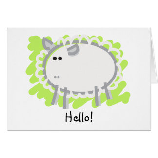 Funny Sheep on Green Greeting Card